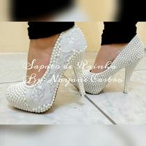 Sapato Noiva Casamento Pérola E Renda Customizado