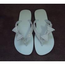 Sandálias Havaianas Customizadas Com Strass E Pérolas