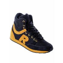 Tênis Sneaker Preto Com Amarelo - Preço De Fábrica!