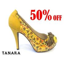 50%off Sapato Scarpin Tanara Floral Couro Amarelo N3231