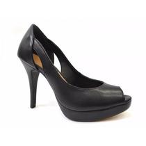 Sapato Feminino Peep Toe De Couro Legitimo - Via Uno