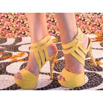 Sapato Salto Alto Peep Toe Amarelo Importado Exclusivo Lindo