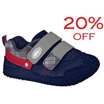 20% Off Tênis Bibi Couro Meninos Velcro 582204 - Azul