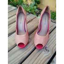 Sapato Scarpin Peep Toe Caramelo E Vermelho - Bazar