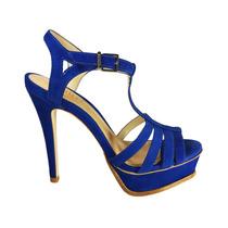 Sandália Nobuck Azul Schutz