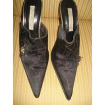 Sapato Tipo Mule Da Gino Ventori C/ Broche Strass Nº 35
