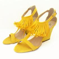 Sandália Tecido E Couro Amarela - Nº 36 - Cód: 0000107