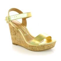 Sandália Anabela Dourada Vizzano - Vizzent Calçados