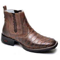 Bota Botina Country Masculina Texana Escamada Dallas Couro