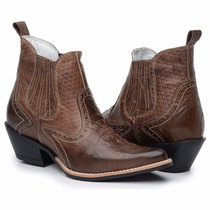Botina Bota Masculina Texana Country Rodeio Couro Bico Fino