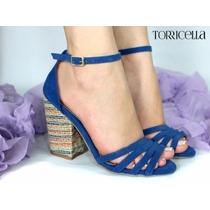 Sandália Azul, Nº 38 - Linda ! Coleção 2016 - Salto 9,5 Cm