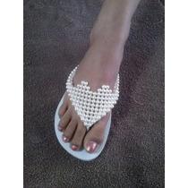 Chinelos Havaianas Sandálias Personalizadas Coração Pérolas