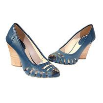Sapato Retrô Azul-marinho De Couro