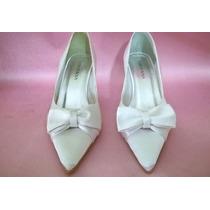 Sapato De Noiva Novo Em Cetim Branco Ref.03/2 Cor De Rosa