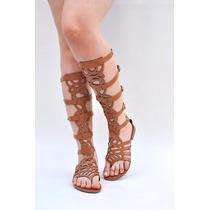 Sandálias Rasteiras Gladiadoras Alta Renda