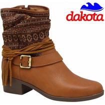 20% Off Bota Dakota Couro Cano Curto Etnica Caramelo B7762