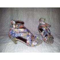 Sandália Salto De Sorvete Colorida Floral