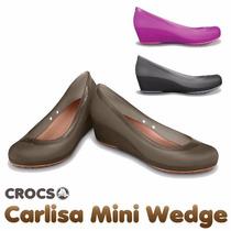 Sapatilha Crocs Carlisa Mini Wedge Preta Marrom Rosa Nova