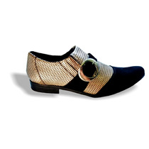 Sapato Social Masculino Envernizado Dourado Trançadopre P:78