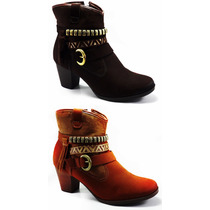 Bota Coturno Ankle Boots Feminino Dakota Cano Médio Salto
