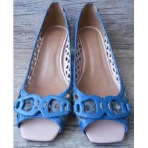 Sapato Couro Peep Toe Feminino - Cor Azul Klein