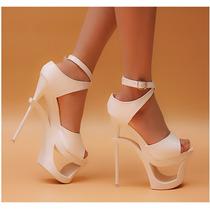 Sapato Importado Feminino Salto Alto Branca