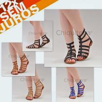 Sandálias Feminina Gladiadora Baixa 001 - Chiquiteira Outlet