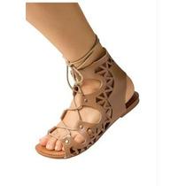 Sandalia Gladiadora Cano Medio -nude Bege - Rasteira-cadarço