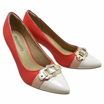 Scarpin Feminino-sapato Peep Toe Piccadilly Vermelho-chique