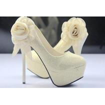 Lindo Scarpin Noiva Nº35 - Produto Á Pronta Entrega