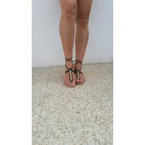 Sandália Diva Preta Amarrar Cadarço Gladiadora Marca Frago