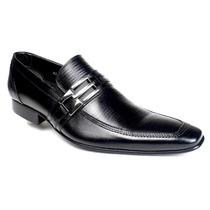 Sapato Preto Social Masculino Sola Couro Estilo Italiano