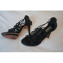 Sandália Altissima Preta Shoestock Couro 37 Tirinhas Finas