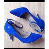Sapato Scarpin /chanel Tam 35/36 Azul Bic