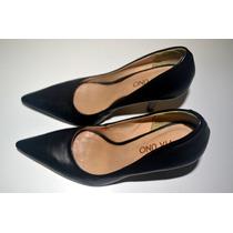 Sapato Feminino Preto - Couro -33 - Via Uno, Semi Novo