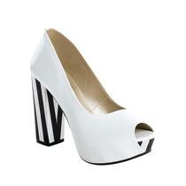 Sapato Peep Toe Listrado, Branco E Preto