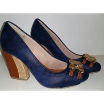 Sapato Feminino Azul Salto Alto Bloco - Sobressalto Calçados