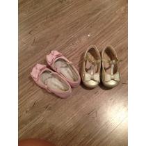Sandálias Infantis Tamanho 22 - 1 Dourada E Outra Rosa