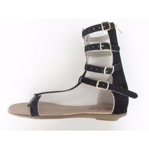 Sandália Gladiadora Meia-canela Com Zíper