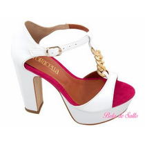 Sandalia Branca E Pink Torricella