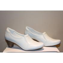 Sapato Feminino Branco De Couro - Enfermagem - Neftali 4750