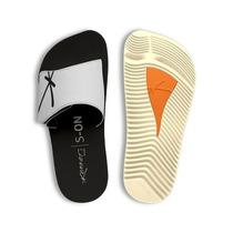 Chinelo Kenner Kivah Original Couro Preto E Branco Velcro