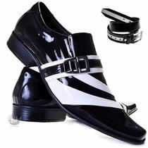 Sapato Social De Verniz Masculino Com Cinto - 100% Courolbm