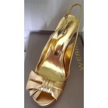Sandália Meia Pata Dourada Para Festa Da Werner - Promoção