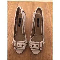 Sapato Salto Alto Em Couro Branco Zara Woman Tamanho 36