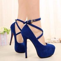 Sapato Feminino Salto Alto Azul Festa Madrinha Debutante