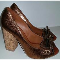 Sapato Bronze Salto Alto Bloco Rolha - Sobressalto Calçados