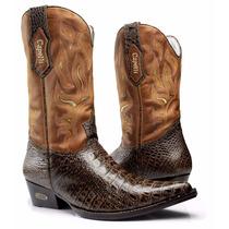Bota Texana Western Jacaré Country Couro Bordada Ref. 7013