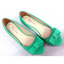 Peep Toe Verde Claro Com Laço