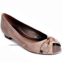 37 Sapato Peep Toe Via Uno Marrom Taupe Couro Legítimo Laço